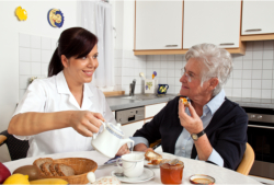 caregiver helping her old patient in eating