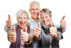 three old people laughing and doing thumbs up